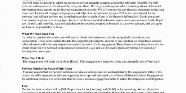 Luxury Audit Engagement Letter Sample Template – Cover Letter Templates Within Bookkeeping Engagement Letter Example
