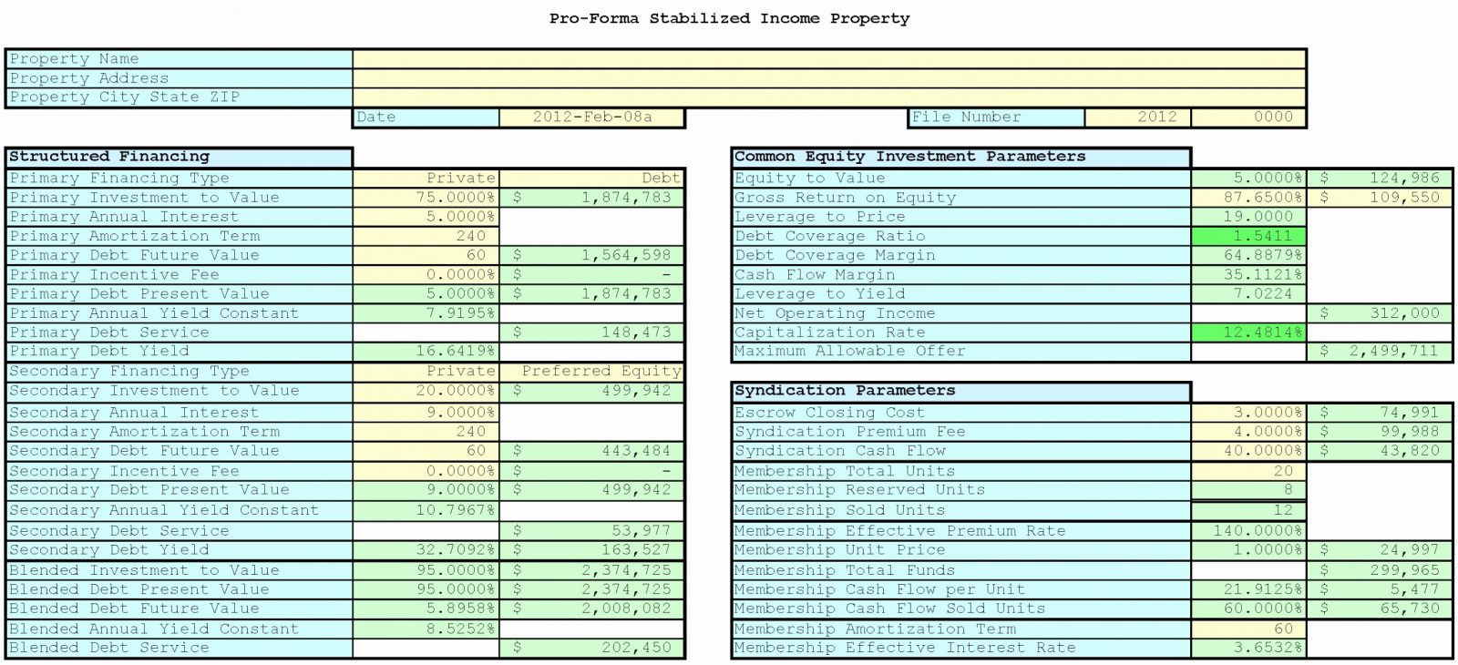 Luxury Real Estate Investmentysis Spreadsheet Document Example Of And Real Estate Spreadsheet Templates