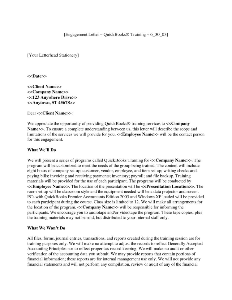 Magnificent Letter Engagement Template For Bookkeeper S – Cover And Bookkeeping Engagement Letter Example