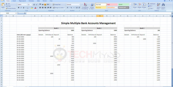 Manage Bank Accounts Using Simple Excel Sheet   Freebies   Techmynd Inside Excel Bank Account Template