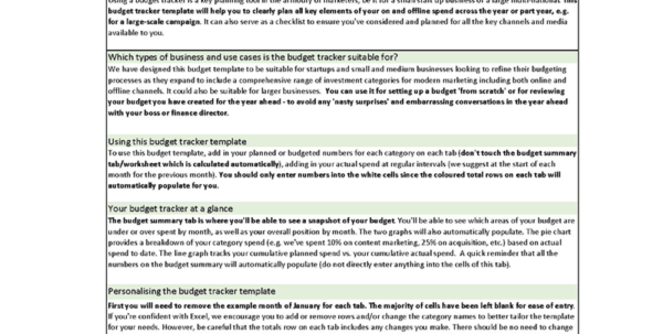Marketing Budget Spreadsheet Template | Smart Insights For Sample Marketing Budget Spreadsheet