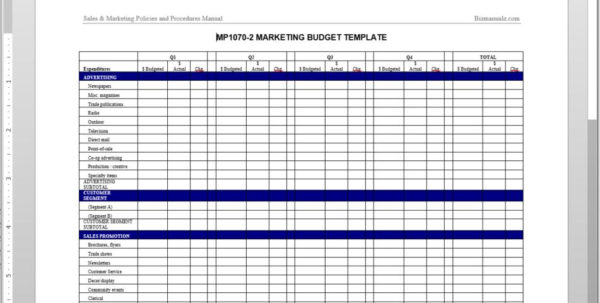 Marketing Budget Worksheet Template In Sample Marketing Budget Spreadsheet