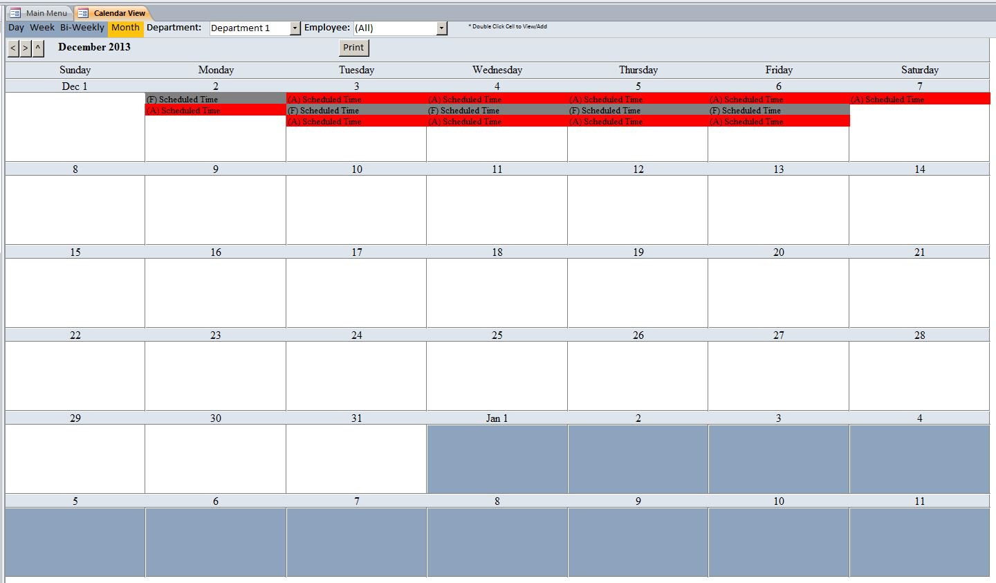 Microsoft Access Employee Scheduling Database Template With Employee Shift Schedule Template