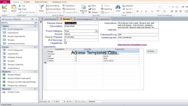 Microsoft Access Food Recipe Database Templates Example | Access Within Ms Excel Database Templates