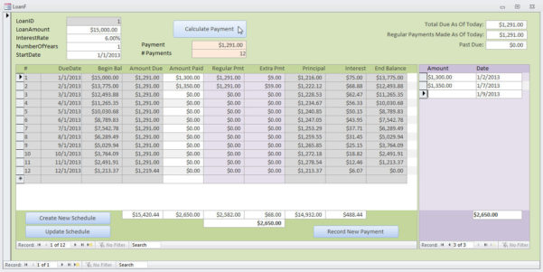 Microsoft Access Loan Amortization Template In Loan Payment Spreadsheet Template