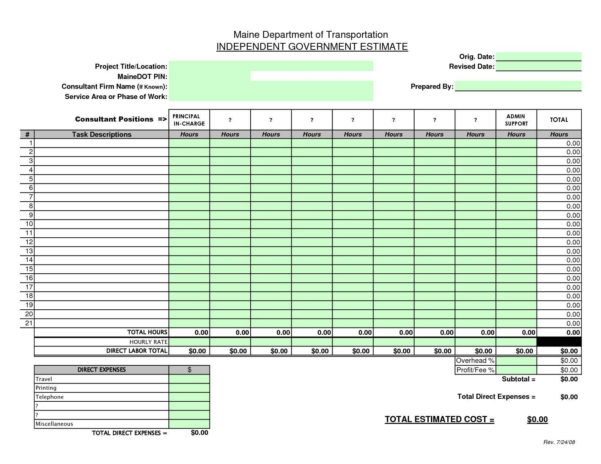 Microsoft Excel Estimate Template ] | Cost Estimate Template Word Inside Free Construction Estimate Template Word