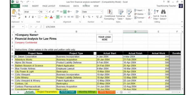 Microsoft Excel For Lawyers: Using The Financial Analysis Worksheet For Microsoft Excel Sample Spreadsheets