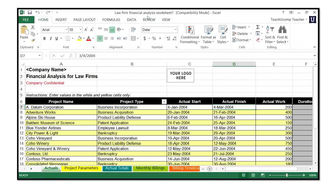 Microsoft Excel For Lawyers: Using The Financial Analysis Worksheet With Microsoft Spreadsheet Template