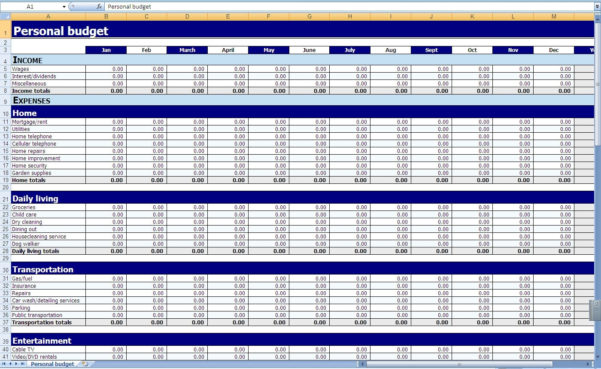 Monthly And Yearly Budget Spreadsheet Excel Template For Monthly With Monthly Expense Sheet Template