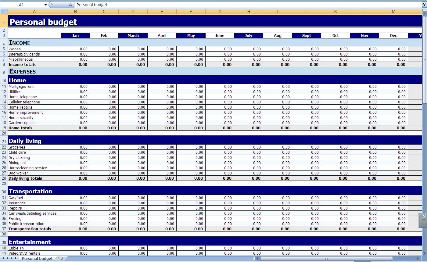 Monthly And Yearly Budget Spreadsheet Excel Template Intended For And Budget Spreadsheet Template Excel