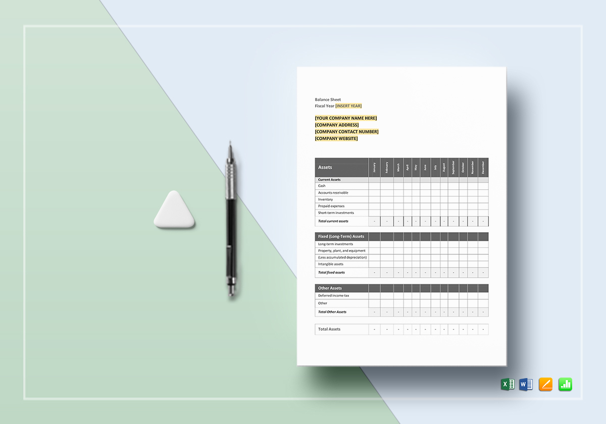 Monthly Balance Sheet Template In Word, Excel, Google Docs, Apple For Monthly Balance Sheet Template Excel