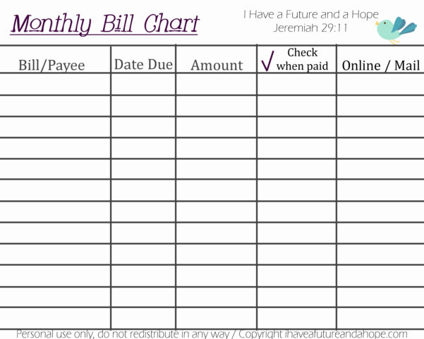 Monthly Bill Organizer Template Excel | My Spreadsheet Templates Inside Excel Spreadsheet Template For Bills