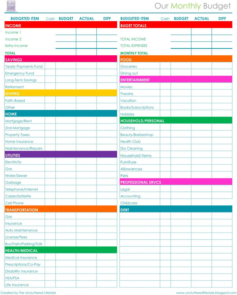Monthly Bill Spreadsheet Template Free Monthly Bills Bud Worksheet In Monthly Bills Spreadsheet Template
