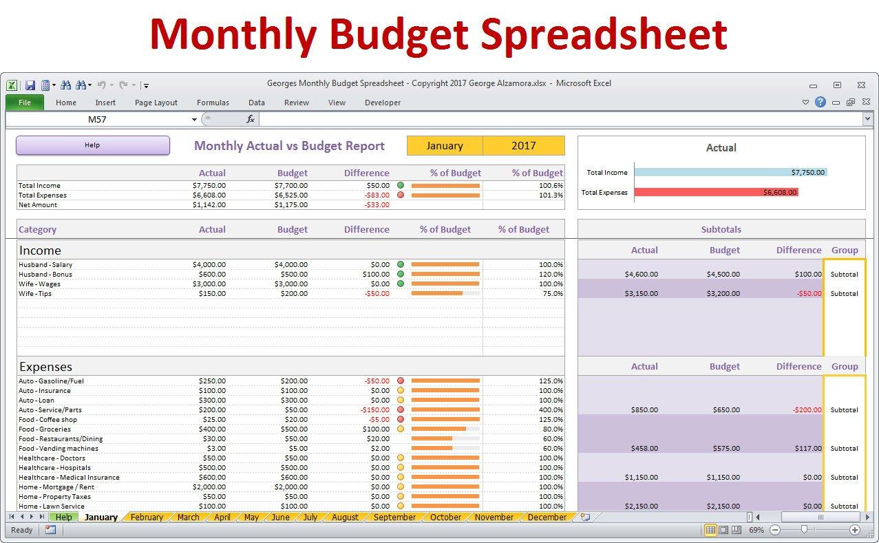 Monthly Budget Spreadsheet Planner Excel Home Budget For | Etsy Throughout Family Budget Spreadsheet