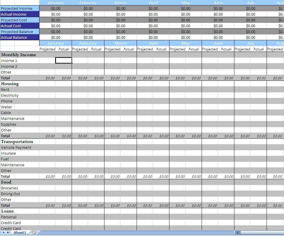 Monthly Budget Spreadsheet Template Free Example Of Monthly Bill With Excel Spreadsheet Templates For Budget
