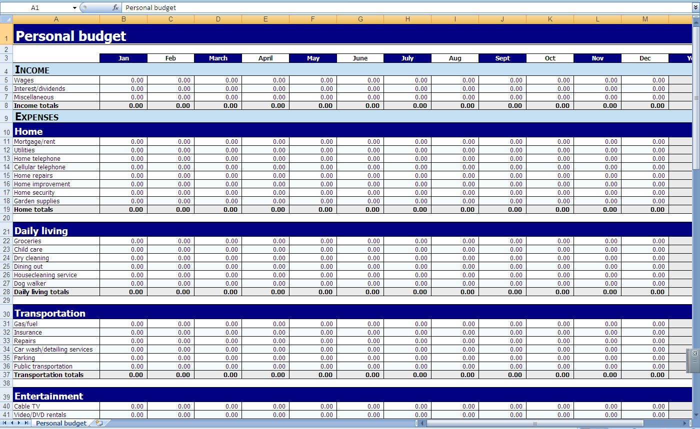 Monthly Budget Template Excel Yearly Personal Household Screnshoots Throughout Personal Monthly Budget Planner Excel