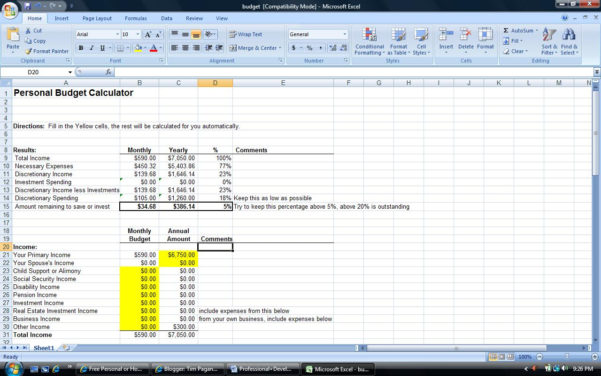 Monthly Budget Worksheet Excel | Monthly Budget Worksheet Within Personal Budget Worksheet Excel
