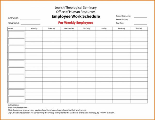 Monthly Employee Schedule Template Excel Blank Gallery Month And Monthly Employee Schedule Template