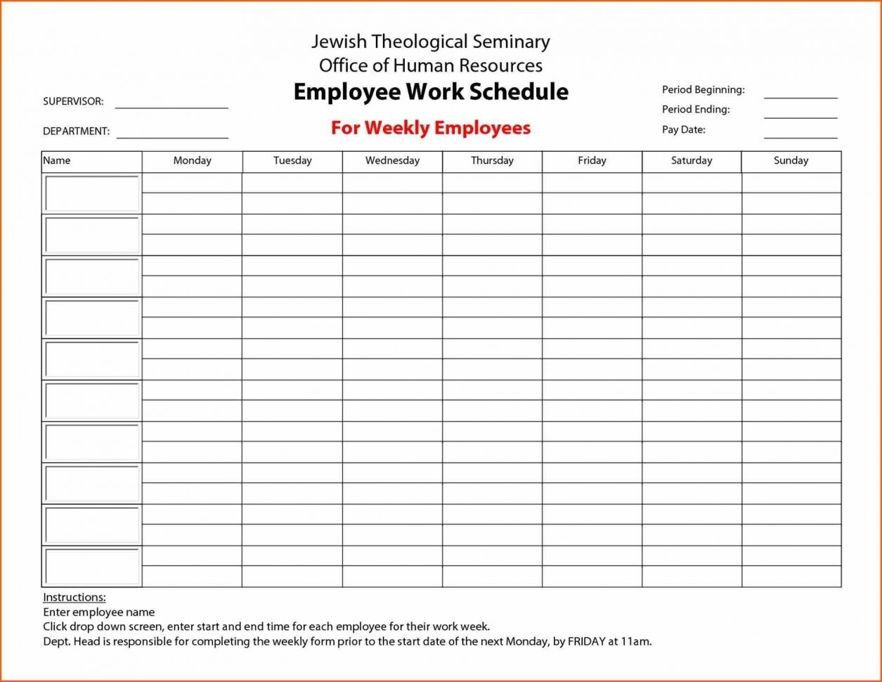 Monthly Employee Schedule Template Excel Free Monthly Work Schedule And Monthly Staff Schedule Template Free