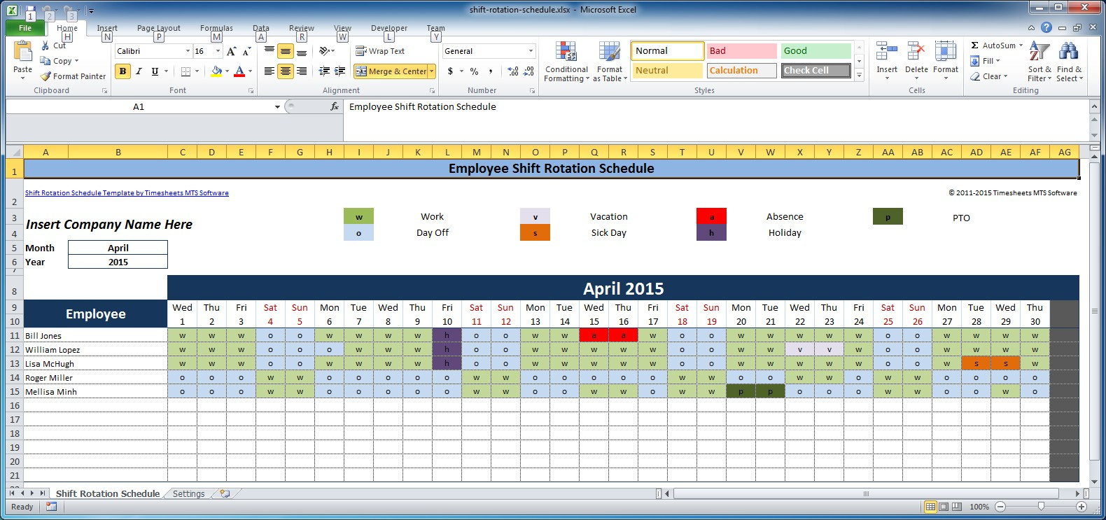 Monthly Employee Shift Schedule Template - Durun.ugrasgrup With Monthly Employee Work Schedule Template Excel