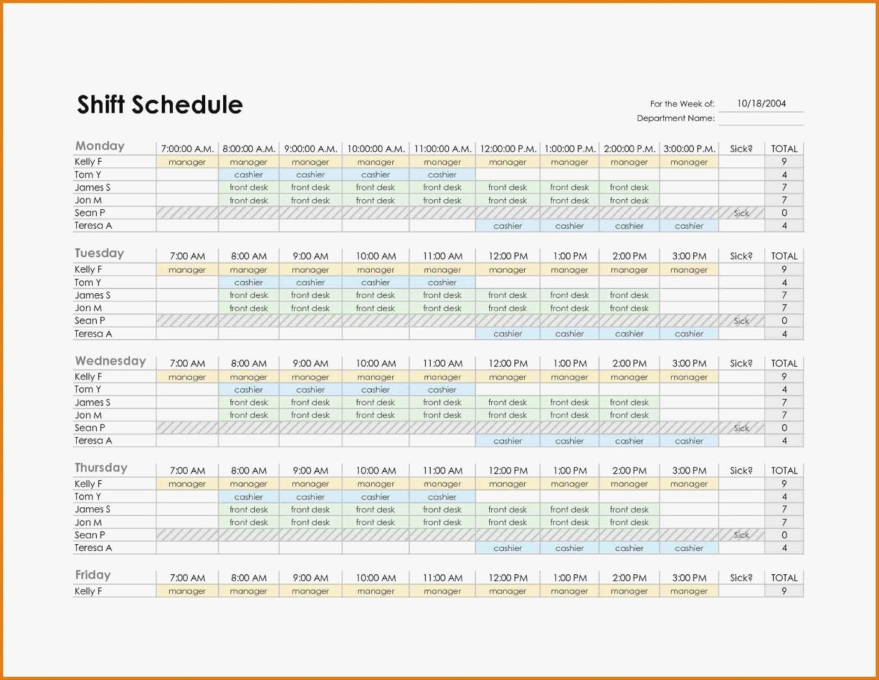 Monthly Employee Work Schedule Template Weekly Templates Excel In Monthly Employee Shift Schedule Template