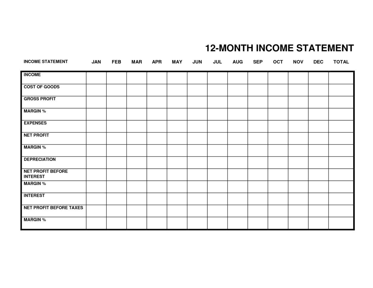 Monthly Income Statement Template Excel   Resourcesaver To Gross Profit Spreadsheet Template