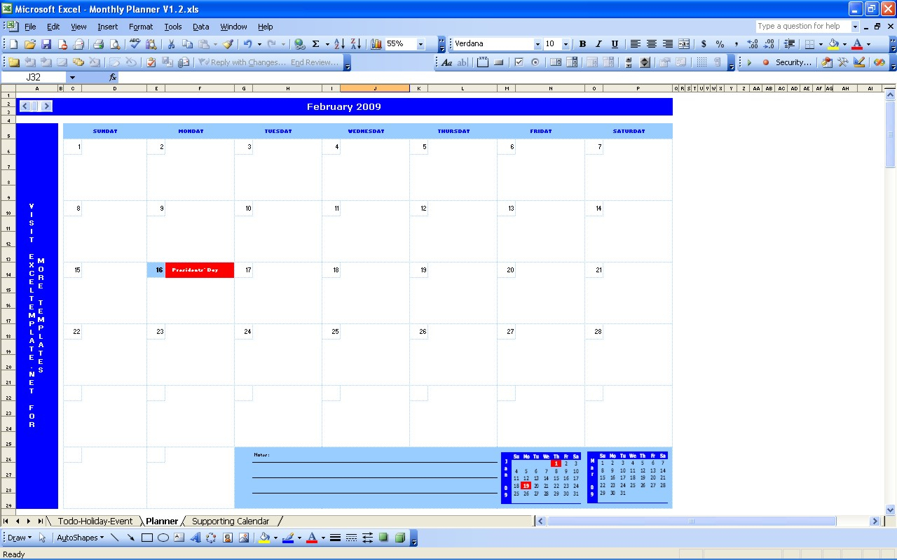 Monthly Planner | Excel Templates Inside Monthly Work Plan Template Excel