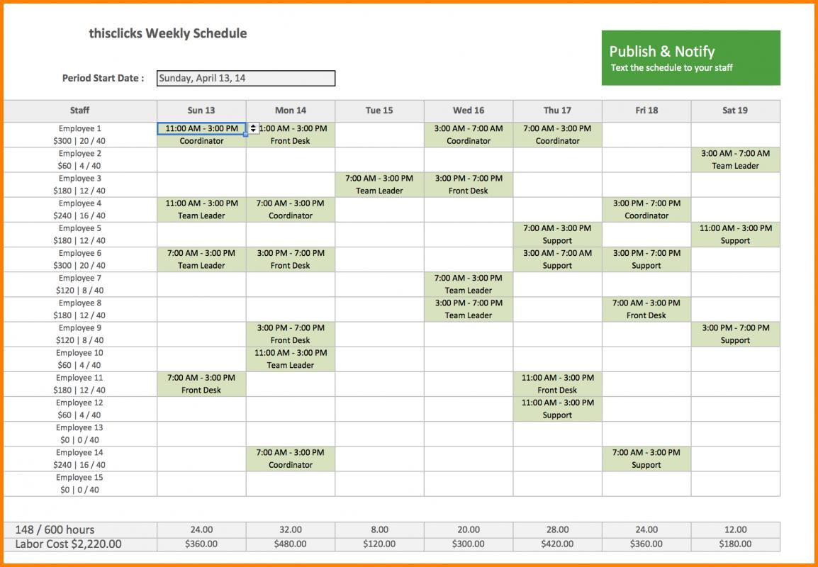 Monthly Staff Schedule Template Excel Planner Templates Employee Pl Inside Monthly Staff Schedule Template Excel