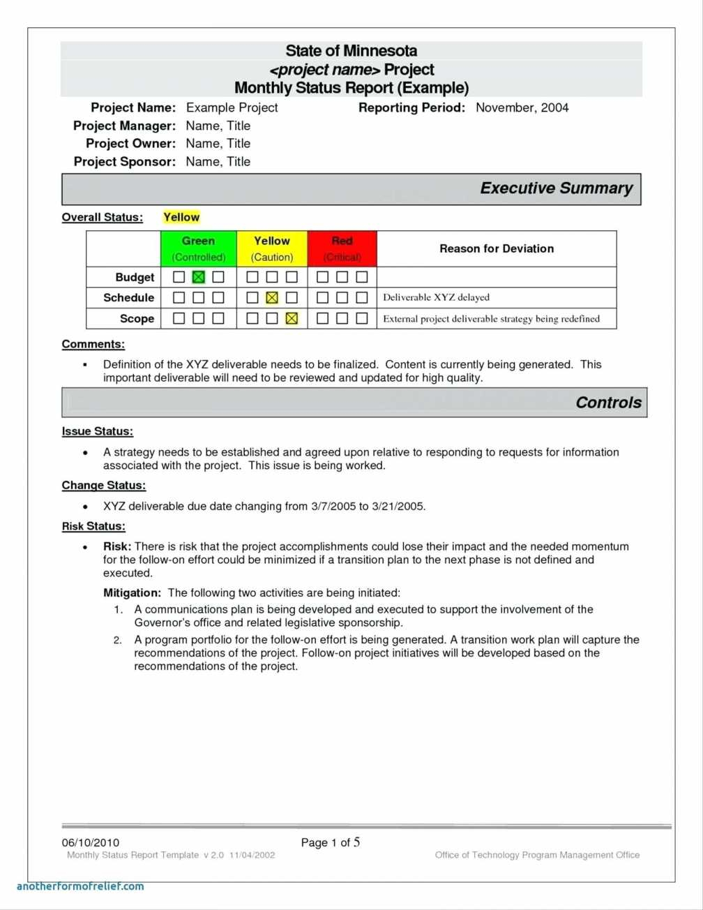 Monthly Status Report Template Project Management Unique Certificate Throughout Project Management Reporting Templates For Status