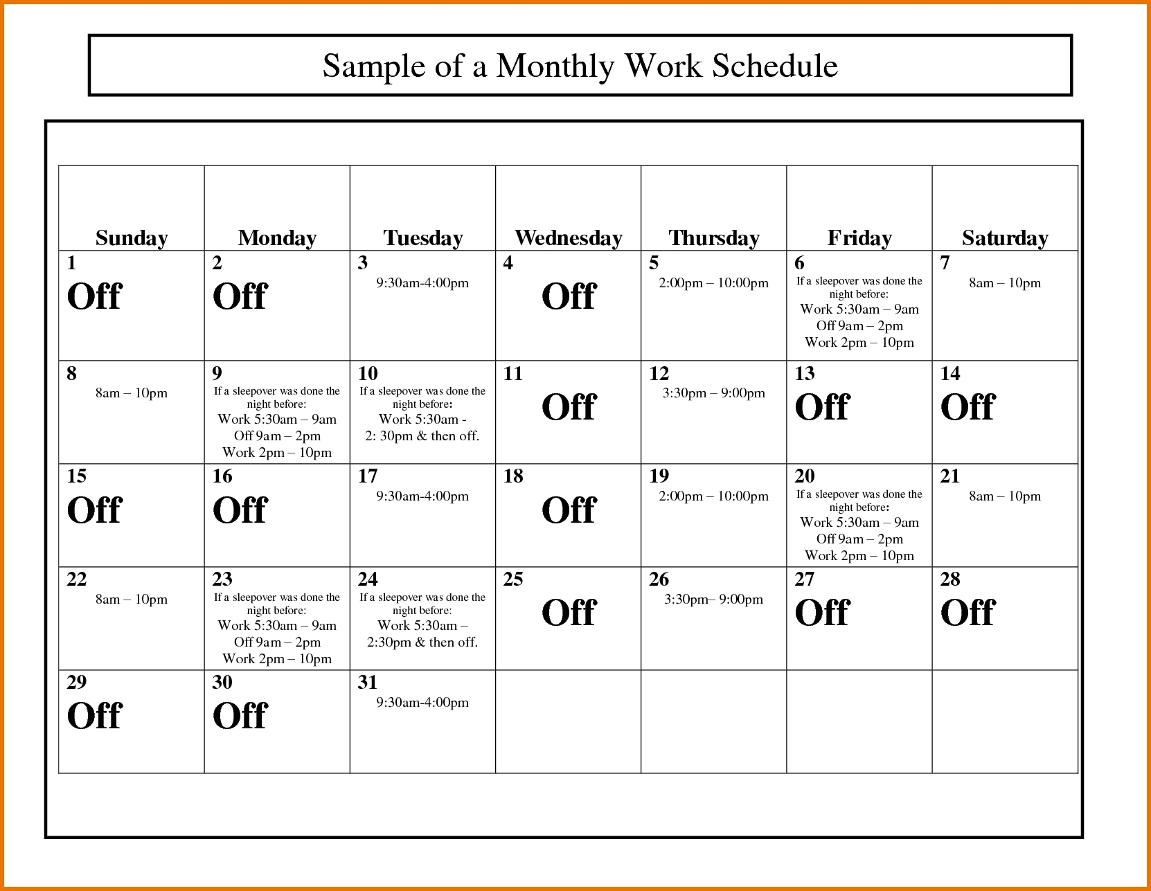 Monthly Work Schedule Calendar Template | Blank Calendar Design 2017 For Monthly Work Schedule Template Pdf