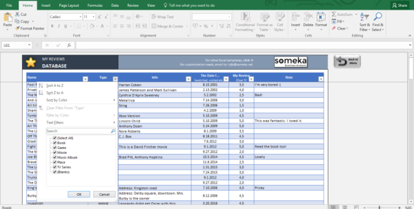My Reviews: Personal Reviews & Ratings Database Template For Ms Excel Database Templates
