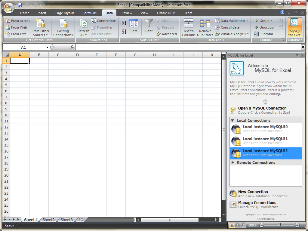Mysql :: Mysql For Excel With Excel Database Template Wizard