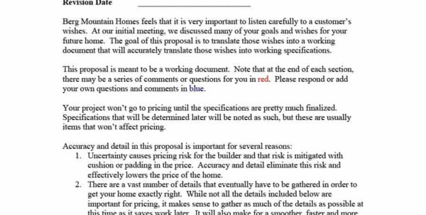 New Home Construction Proposal Template Examples #1927   Searchexecutive Intended For Residential Construction Bid Form