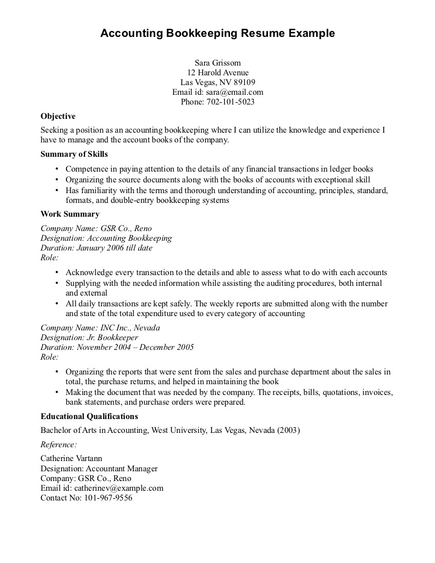 Objective Of Seeking A Position As An Accounting Bookkeeping With Intended For Bookkeeping Resume Template