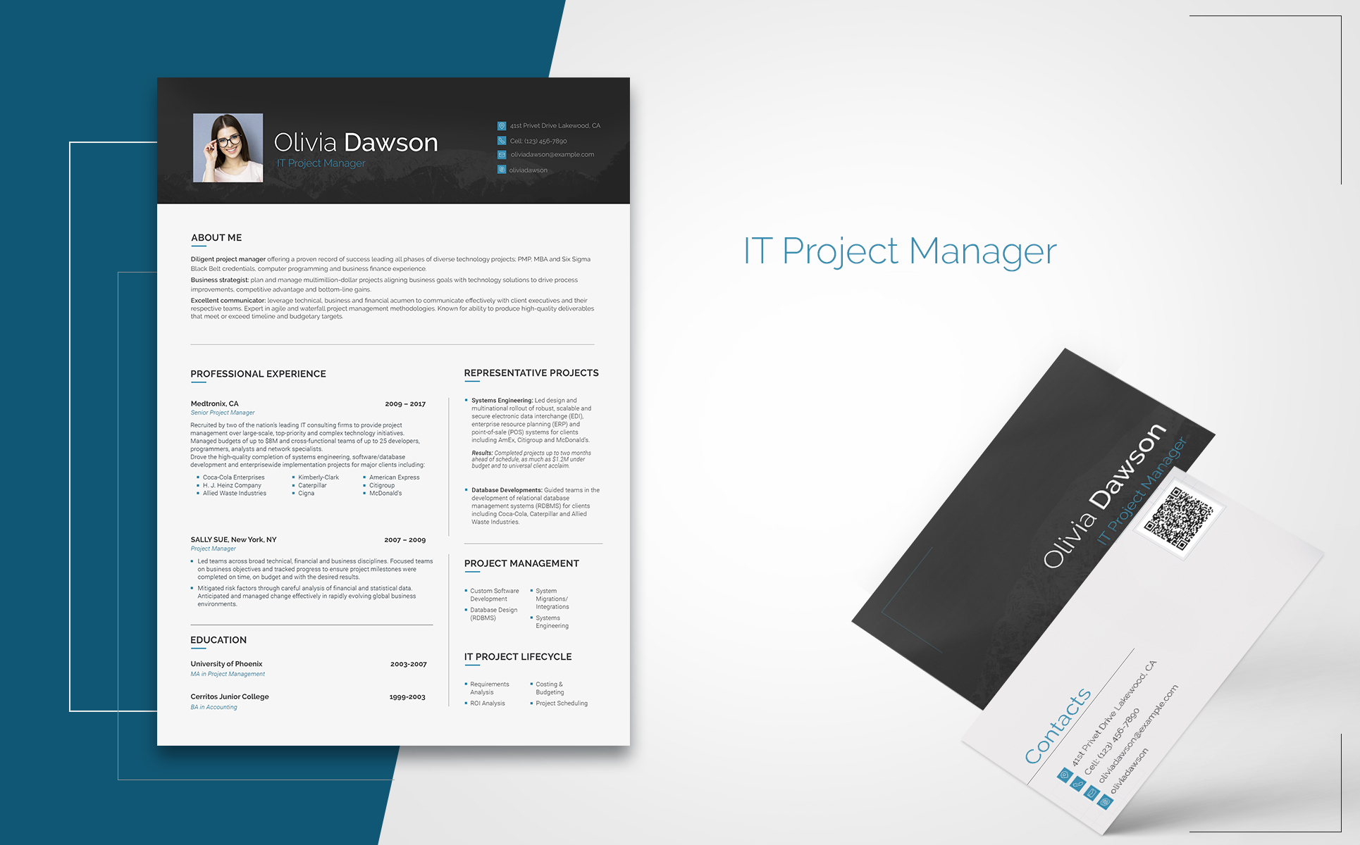 Olivia Dawson - Project Manager Resume Template #65254 inside Project Management Design Templates