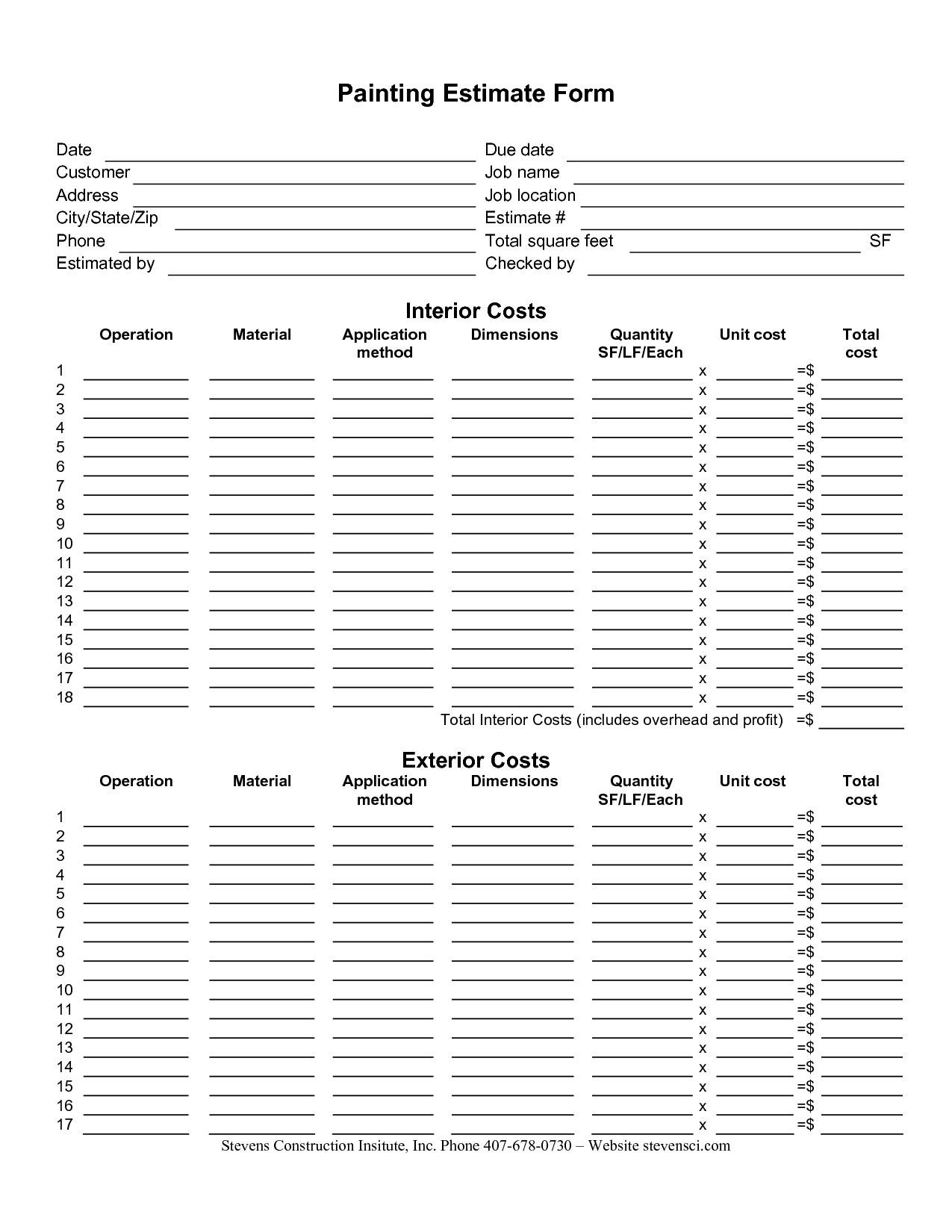 Painting Estimate Form Sample | Painting Estimate Sheet Templates And Construction Estimate Form Pdf