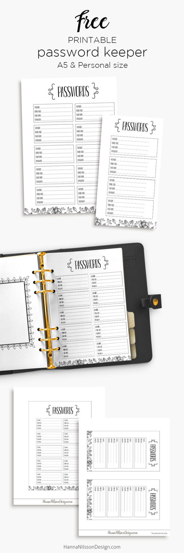 Password Keeper | Free Planner Printable – Hanna Nilsson Design With Free Printable Password Keeper