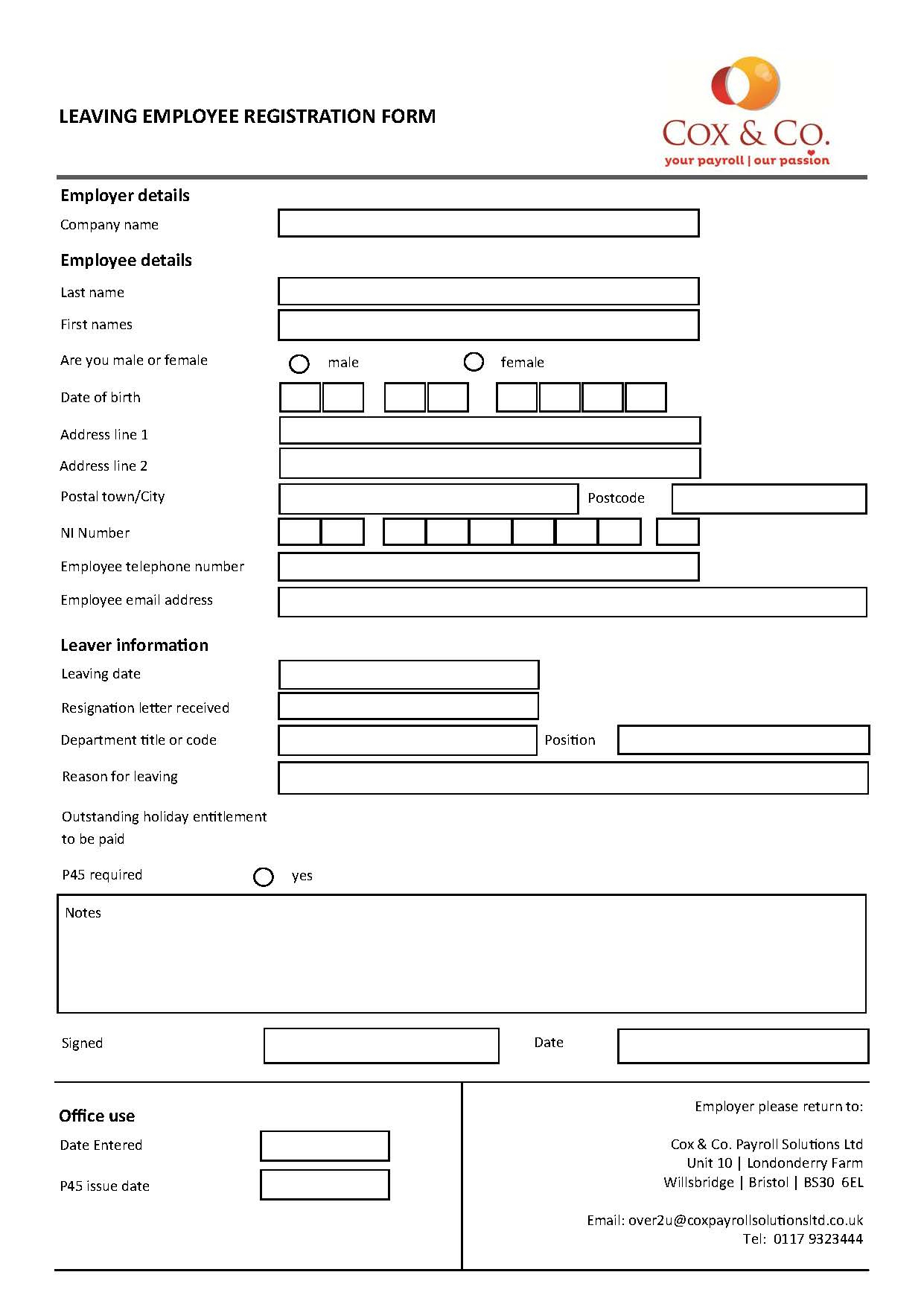Payroll Forms   Cox & Co Intended For Payroll Spreadsheet Template Uk