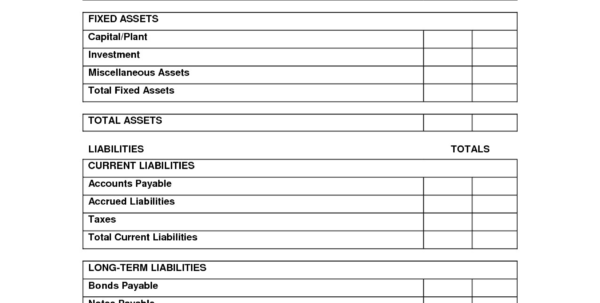 Personal Balance Sheet Example 7   Band Ible With Personal Balance Sheet Template