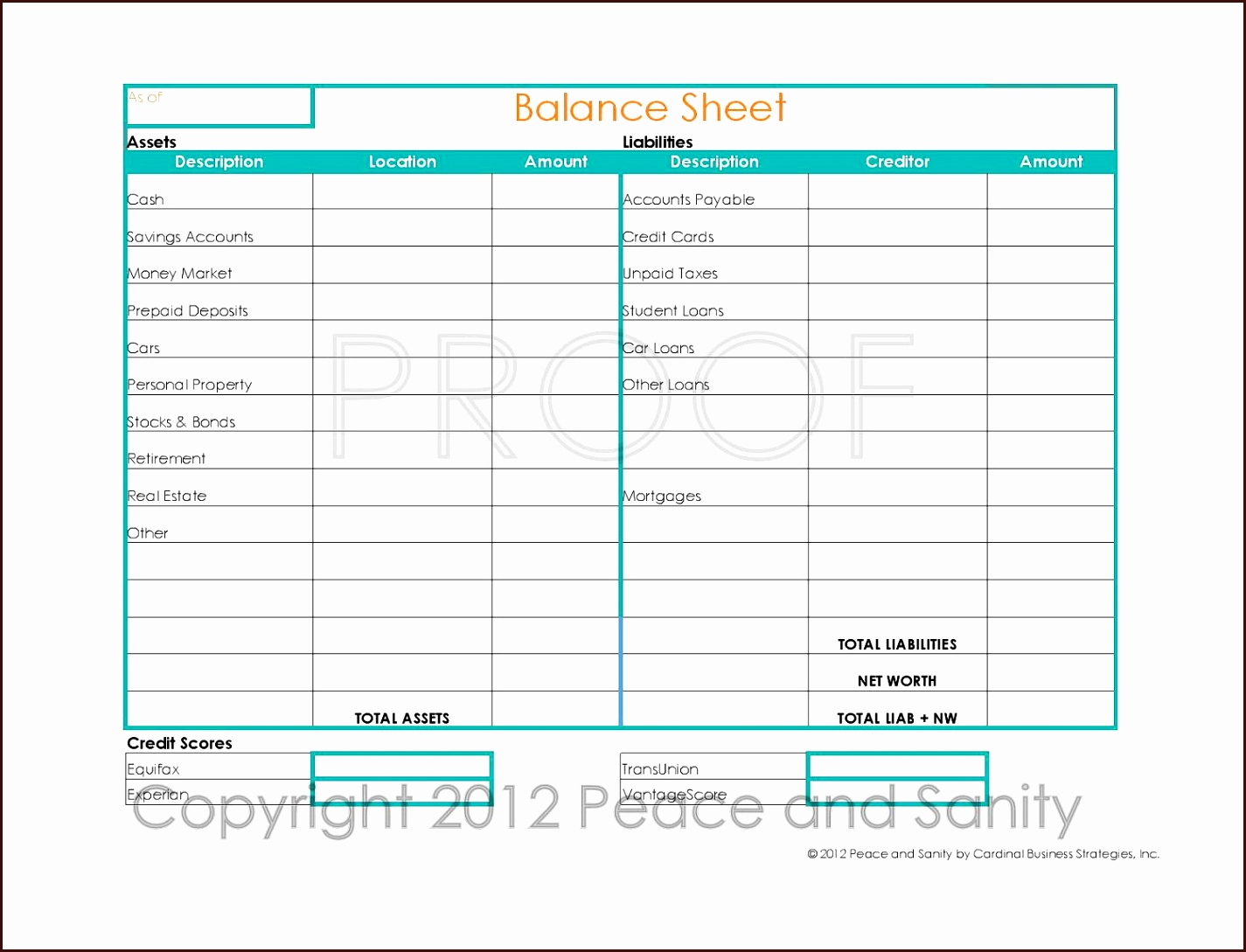 Personal Balance Sheet Template Excel Free Excel Best S Of Printable Within Personal Balance Sheet Template