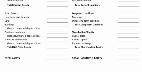 Personal Financial Statement Template Excel Business Balance Sheet With Personal Financial Balance Sheet Template