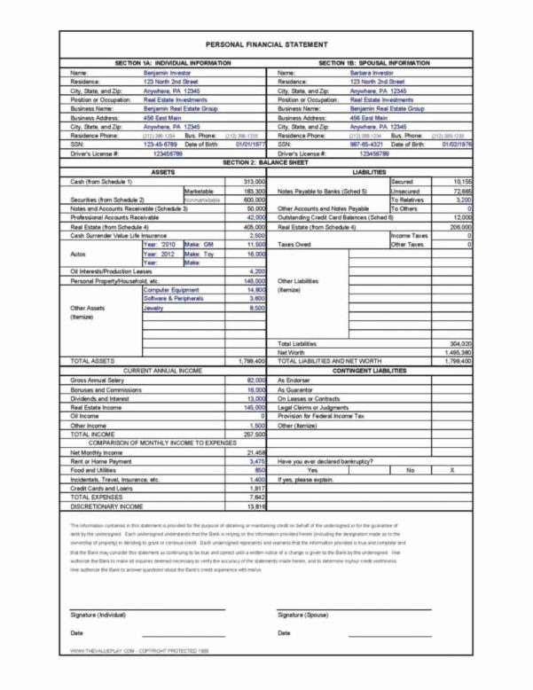 Personal Financial Statement Template Excel Lovely Restaurant In Personal Finance Templates Excel