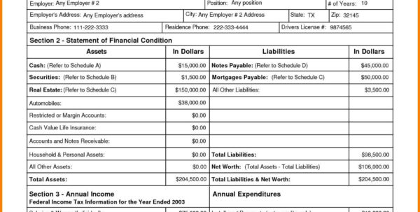 Personal Financial Statements Templates | Sosfuer Spreadsheet Inside Financial Statements Templates