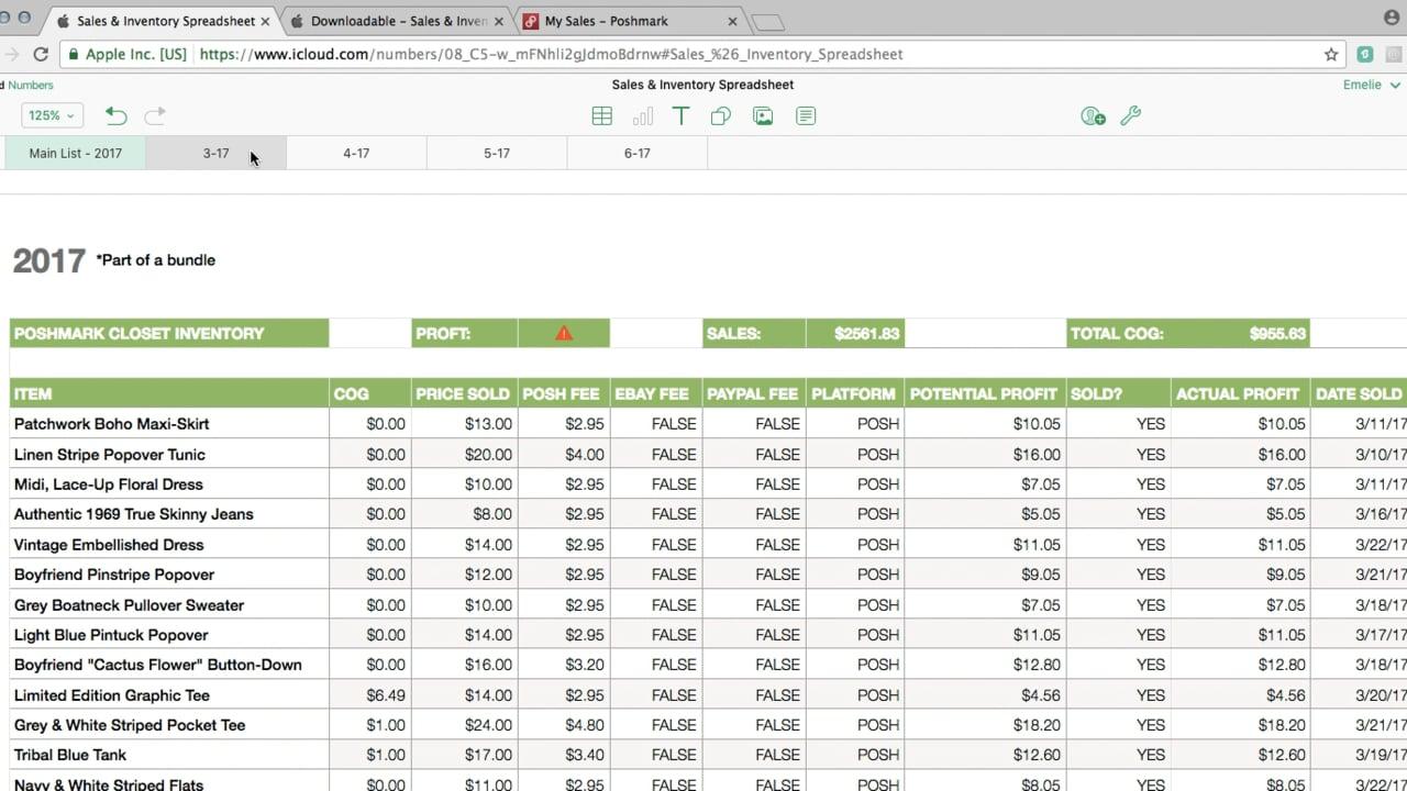Poshmark/ebay Sales & Inventory Spreadsheet Tutorial On Vimeo Within Inventory Spreadsheet