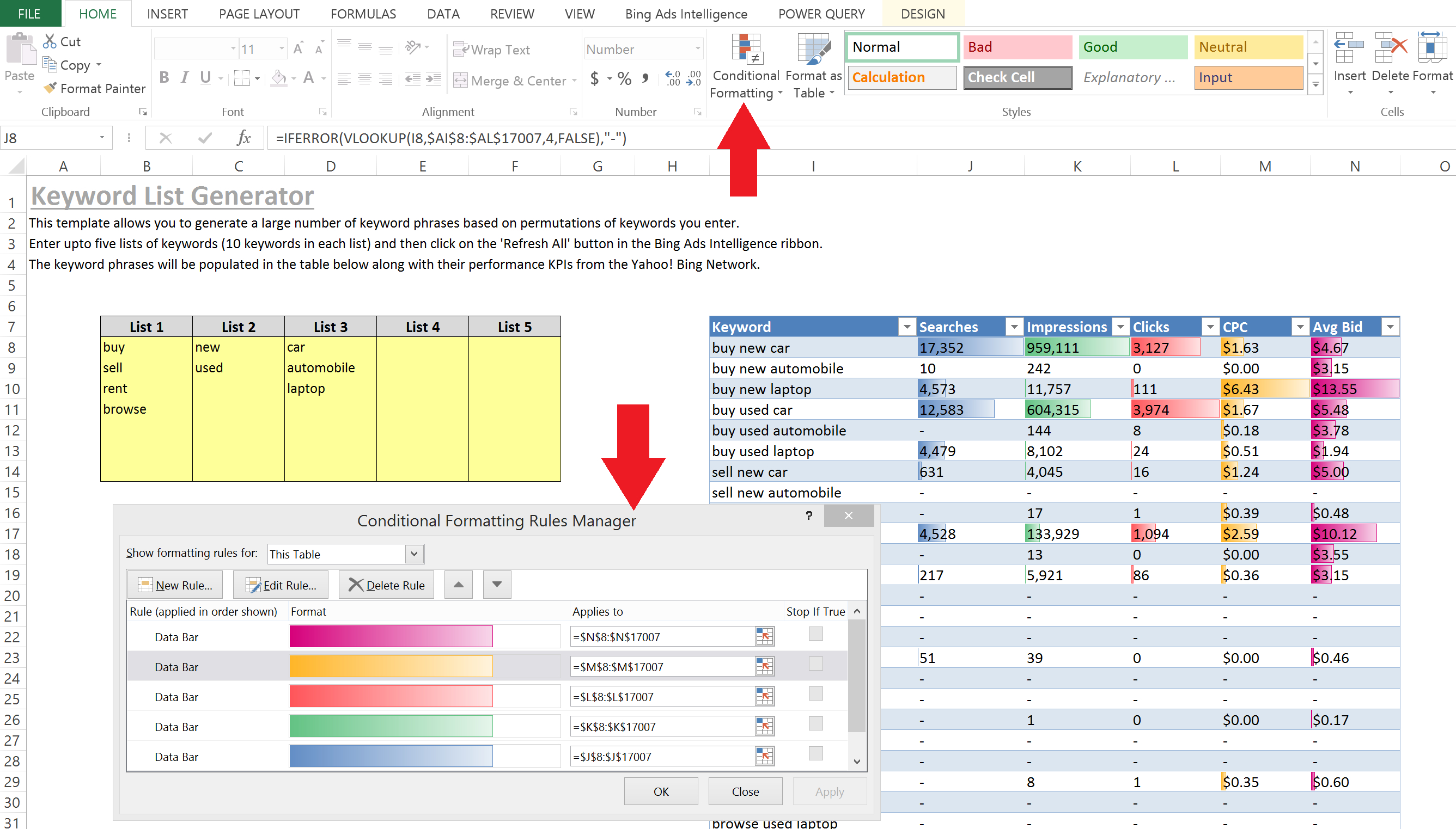 Ppc Excel Tips For Every Level: Part 3, Advanced Level Keyword Intended For Excel Crm Template Format