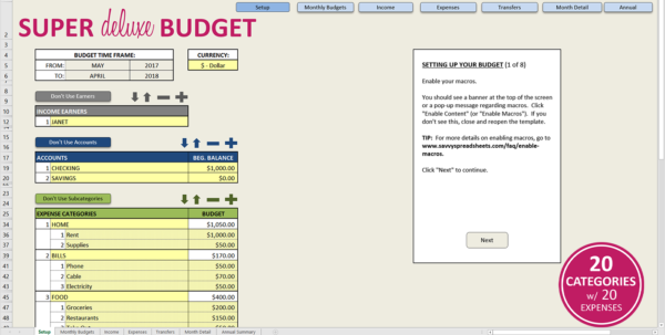 Premium Excel Budget Template   Savvy Spreadsheets With Monthly Budget Planner Excel Free