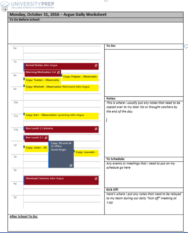 Principal John's Daily Worksheet   The Together Teacher The Together With Worksheet Templates For Teachers