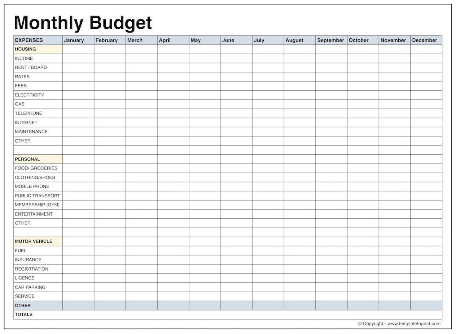 Printable Budget Worksheets Pdf Personal Spreadsheet Worksheet File Within Monthly Budget Spreadsheet