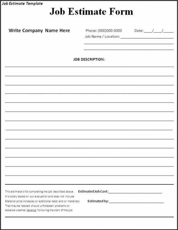 Printable Contractor Bid Forms Blank Job Estimate Form Template With With Construction Estimating Forms Template