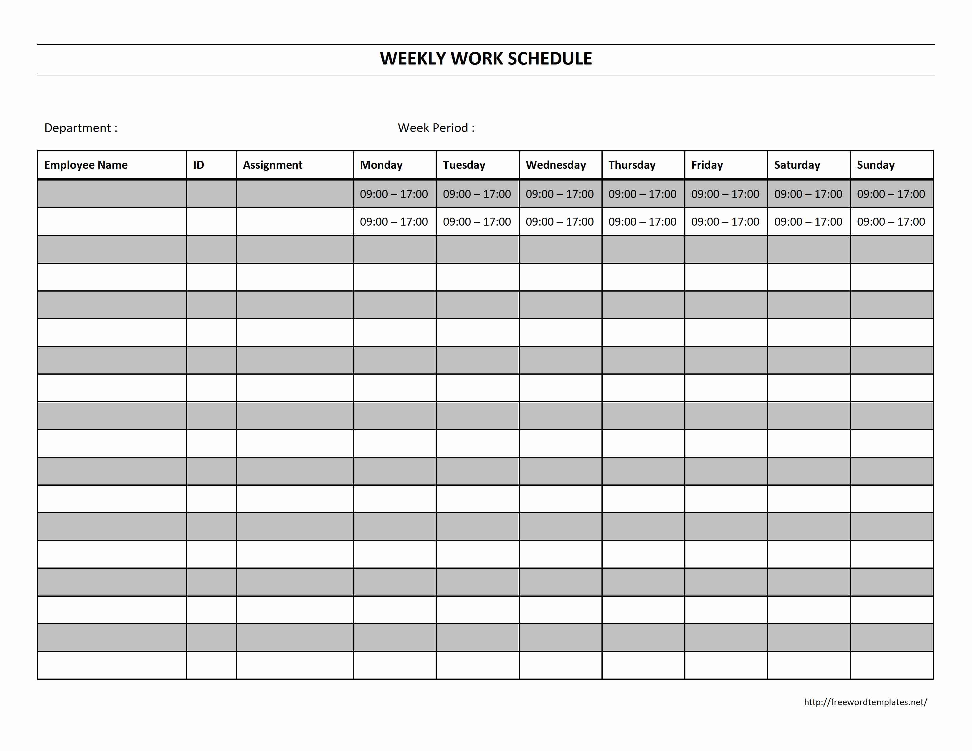 Printable Employee Work Schedule Template For Monthly Staff Schedule Template